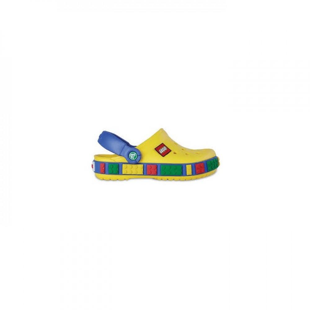 "Детские Кроксы Crocs Crocband LEGO ""Yellow/Sea/Blue"" (Желтый)"