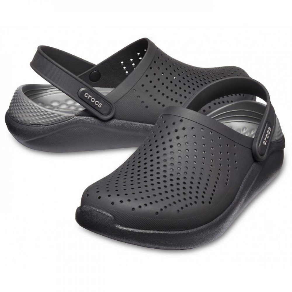"Сабо Кроксы Crocs LiteRide™ Clog ""Black/Slate Grey"" #204592 (Черный, Серый)"