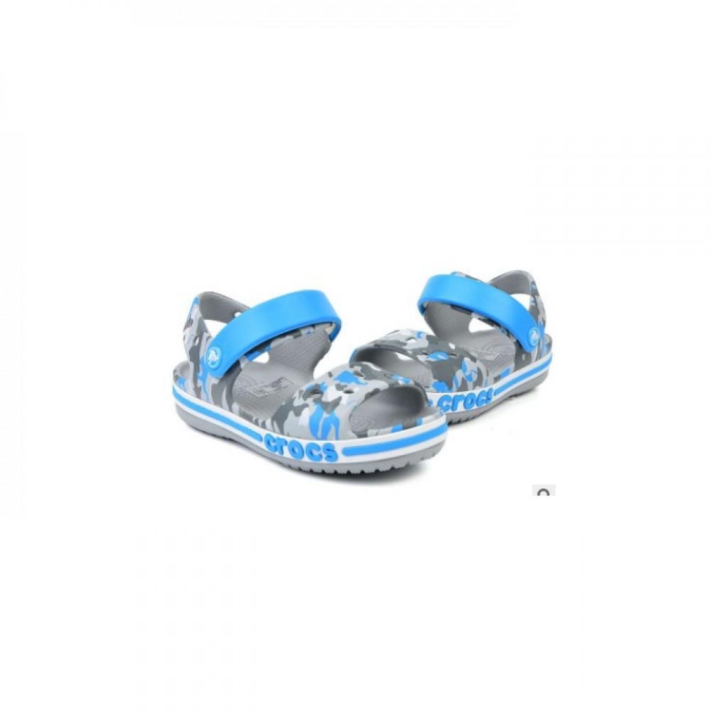 """Детские Кроксы Сандалии Crocs Crocband Sandal Kids """"Light/Gray"""" (Серый, Голубой)"""