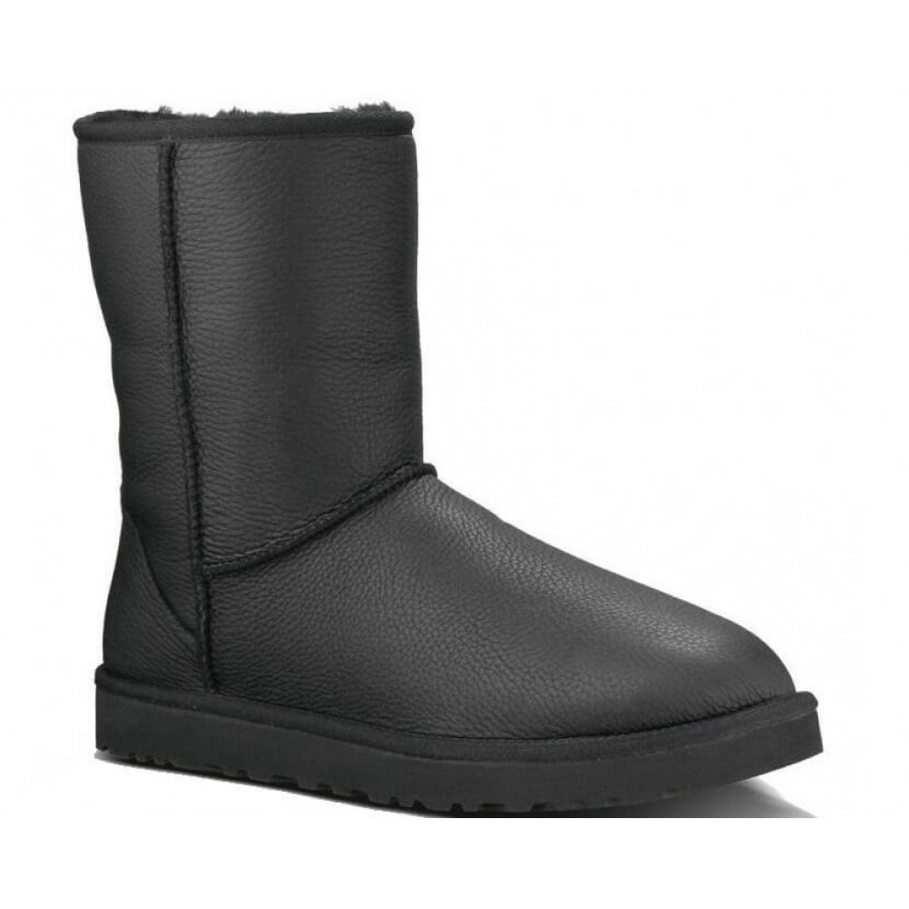 "UGG CLASSIC SHORT II LEATHER BOOT ""BLACK"" (Черный)"