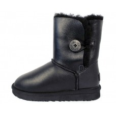 "UGG BAILEY BUTTON II BOOT LEATHER ""BLACK"""
