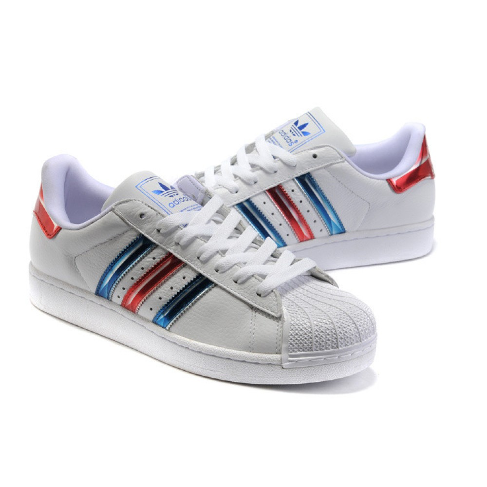 Женские кроссовки Adidas Superstar White Blue Red Old School ()