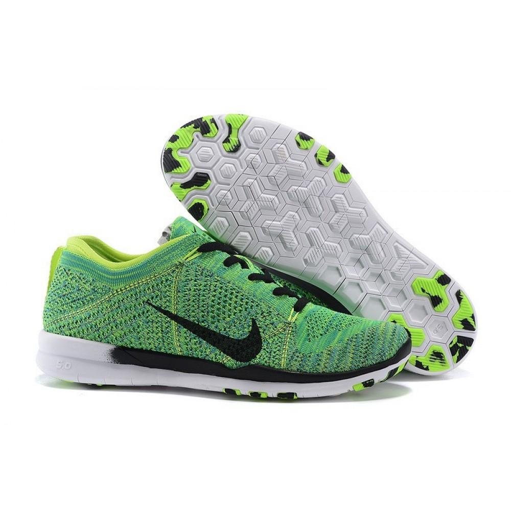 Кроссовки Nike Free TR 5 Flyknit Women s Training Shoe Green Volt Black White (Зеленый)