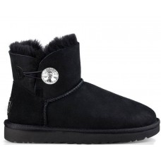 "UGG MINI BAILEY BUTTON BLING BOOT ""BLACK"""