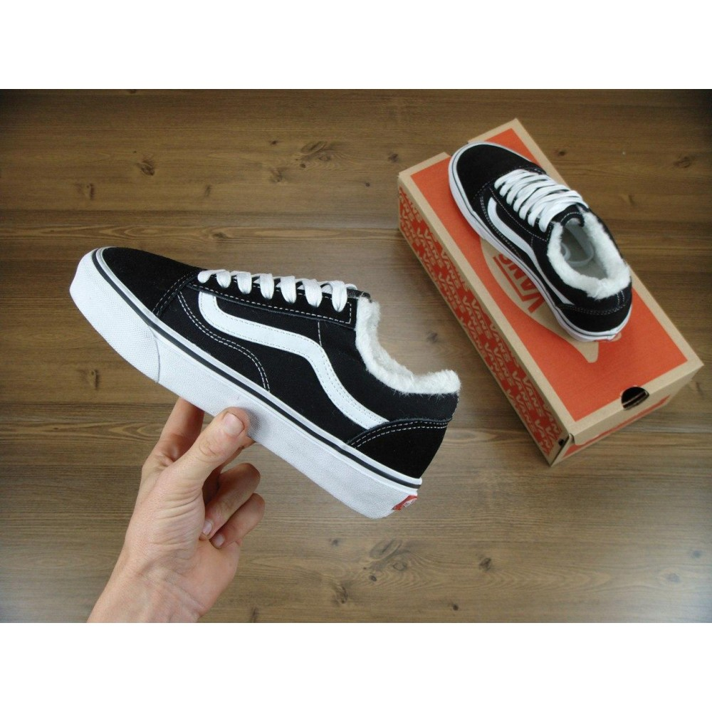 Кеды с Мехом Vans Old Skool Black White Low (Черный, Белый)