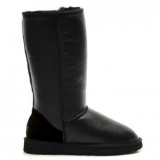 """UGG CLASSIC TALL BOOT LEATHER """"BLACK"""""""
