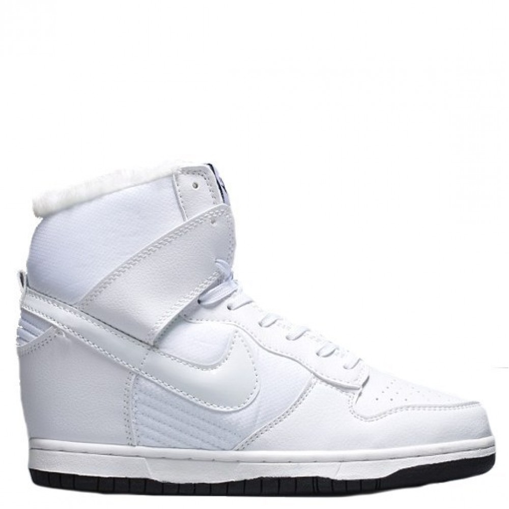 "Сникерсы Nike WMNS Dunk Hight ""White"" С МЕХОМ (Белый)"