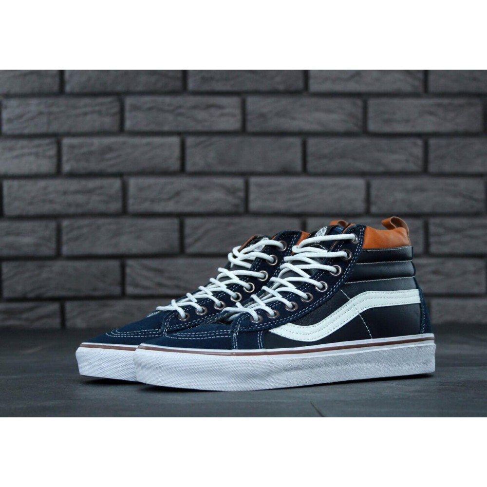 Кеды Vans SK8 Navy Blue Leather (Черный, Синий)