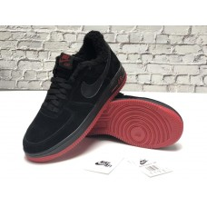 "Кроссовки Nike Air Force 1 Low ""Black/Red"" на Меху"