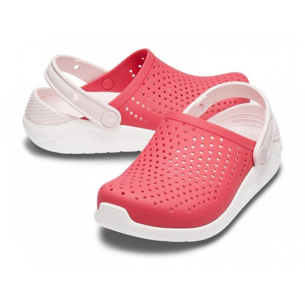 "Кроксы Crocs Kids' LiteRide™ Clog ""Coral/White"" (Коралловый)"