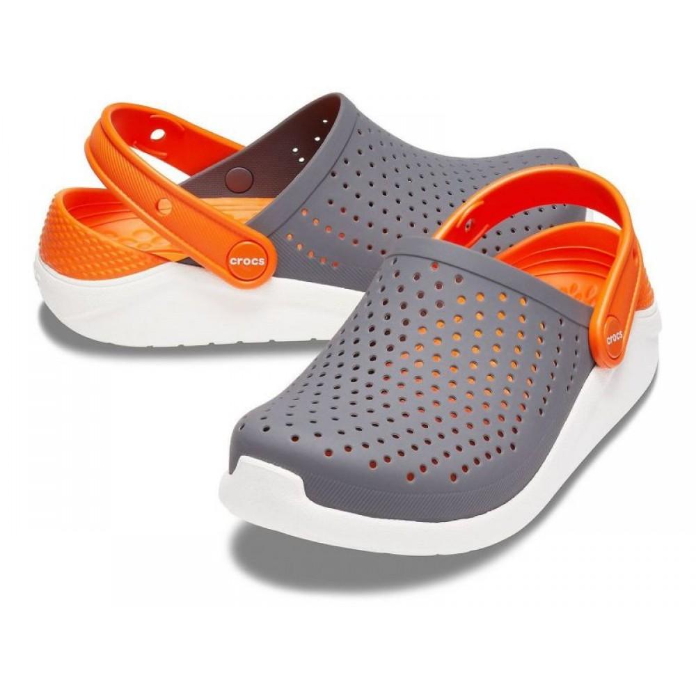 """Кроксы Crocs Kids' LiteRide™ """"Grey/Orange"""" (Серый, Оранжевый)"""