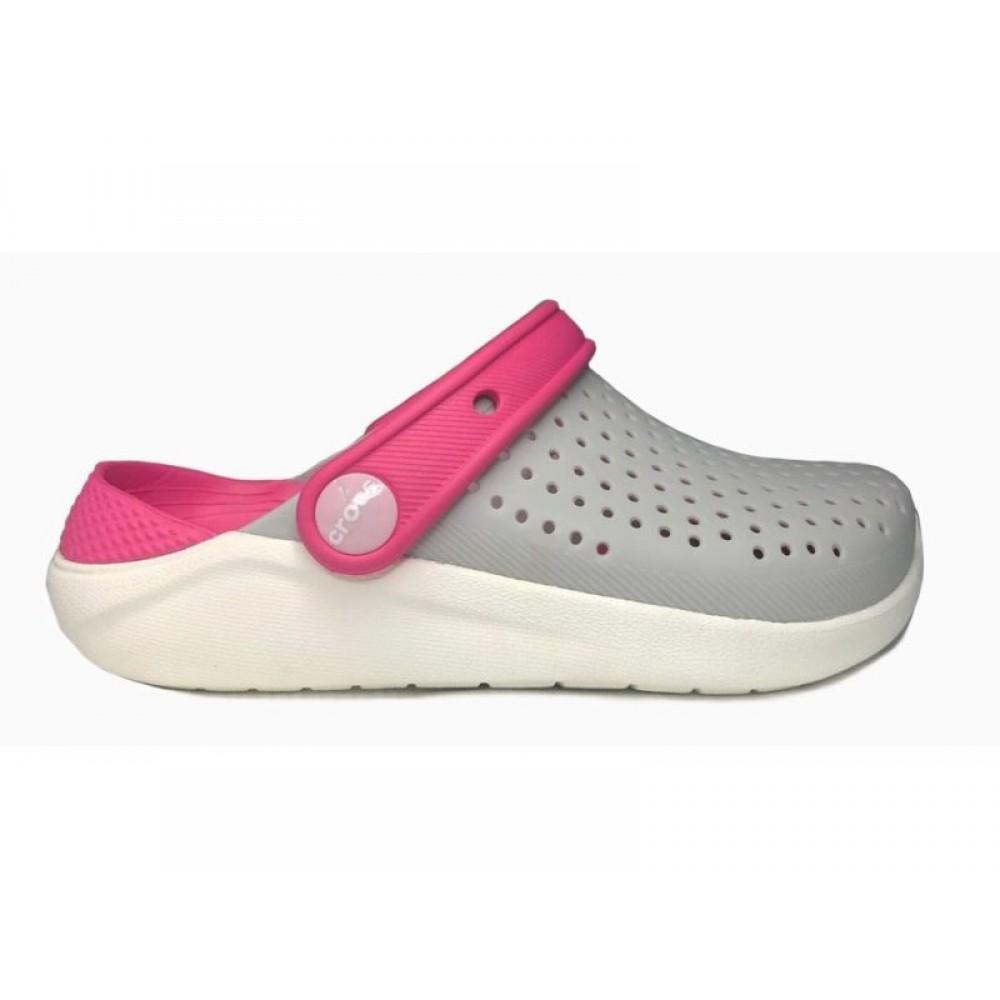"""Кроксы Crocs Kids' LiteRide™ Clog """"Grey/Pink"""" (Серый, Розовый)"""