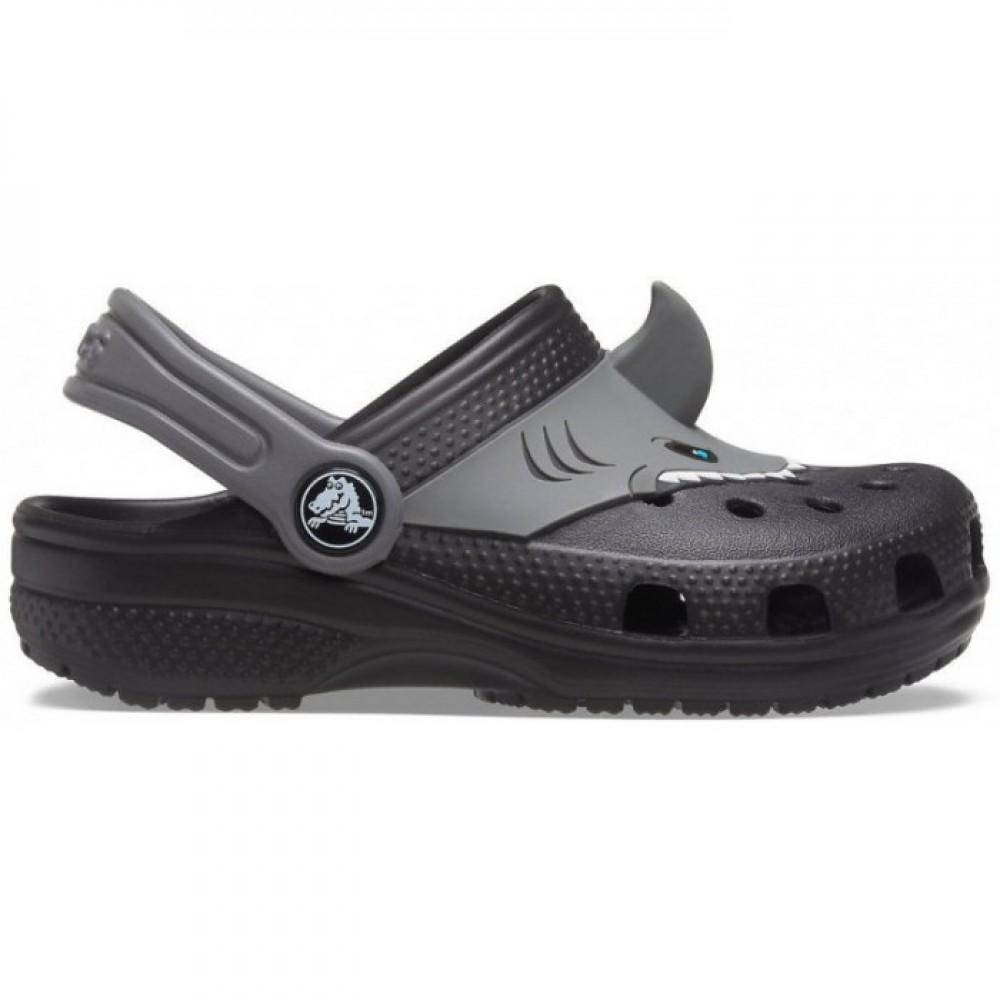 """Детские Crocs Classic Shark """"Black"""" (Серый, Черный)"""