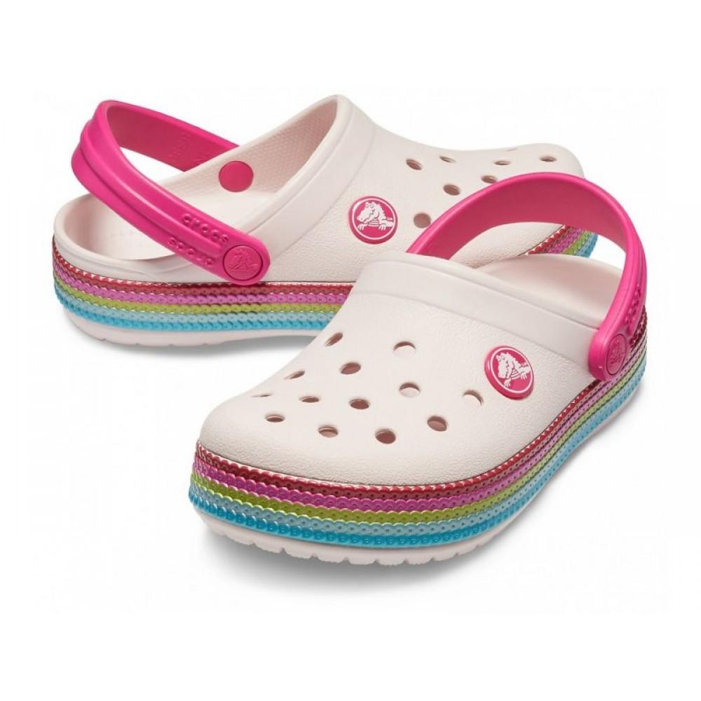 """Кроксы Kids Crocs Crocband Clog """"Rainbow"""" (Розовый)"""