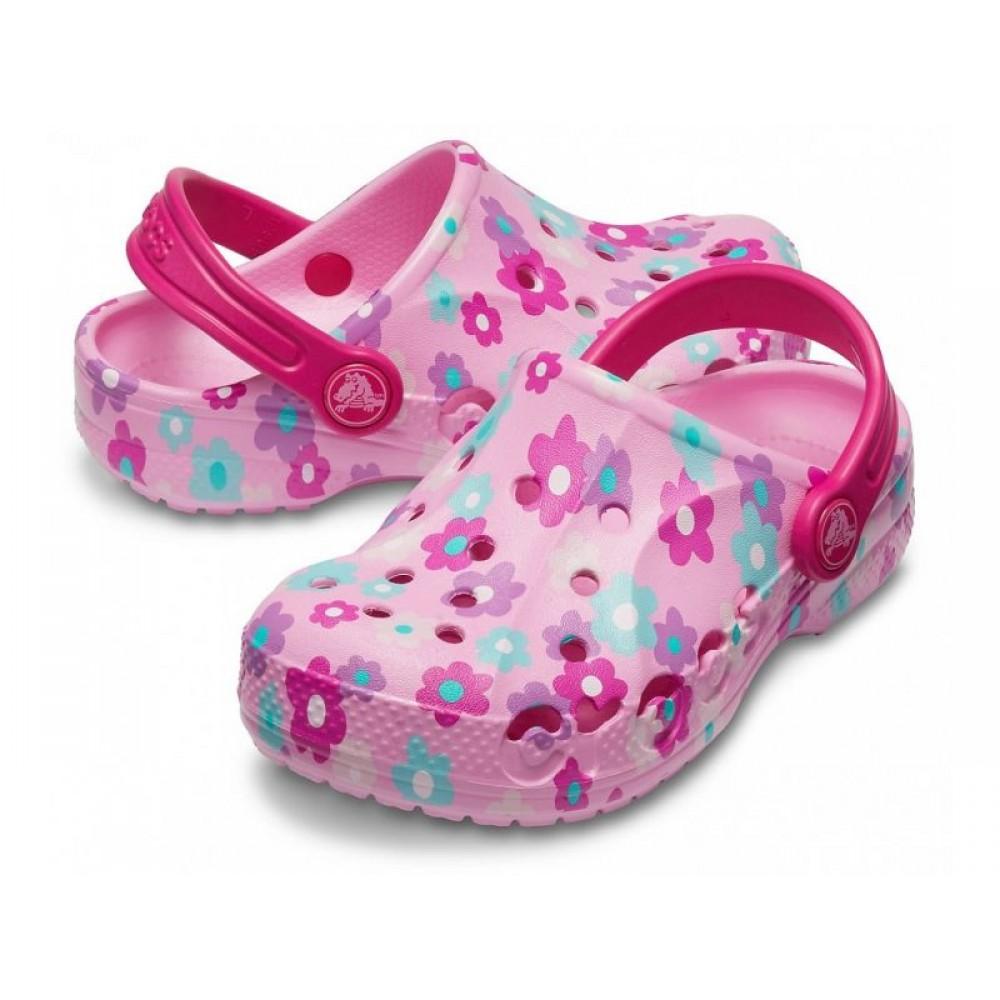 """Детские кроксы Crocs Kids' Baya Clog Volt Flowers """"Pink"""" (Розовый)"""