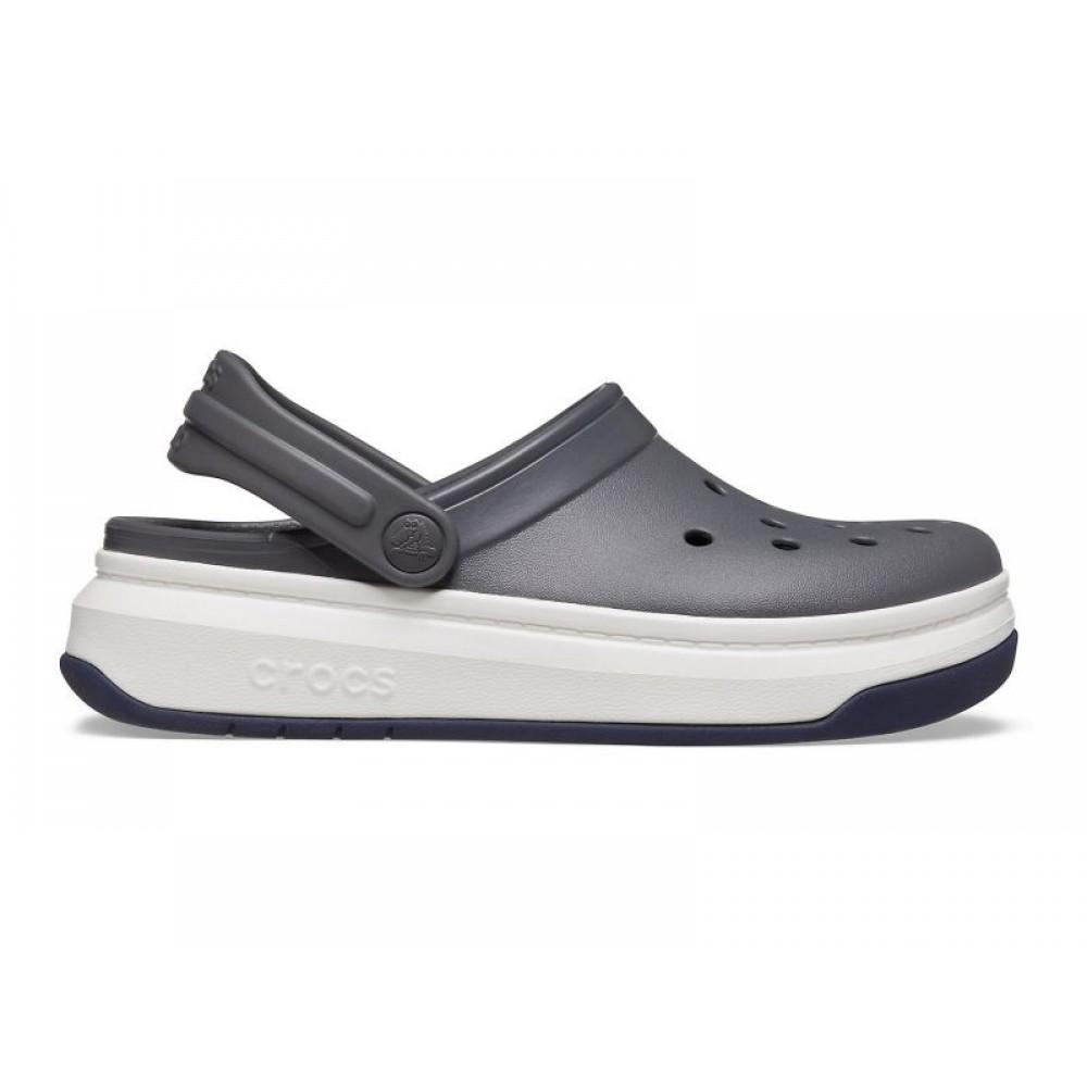 "Кроксы на толстой подошве Crocs Crocband Full Force Clog ""Grey/White"" (Серый)"