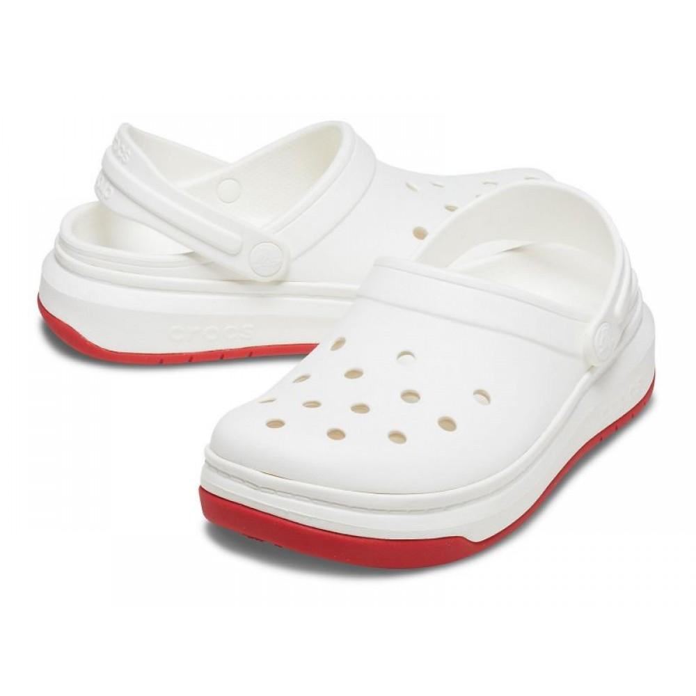"Кроксы на толстой подошве Crocs Crocband Full Force Clog ""White"" (Белый)"