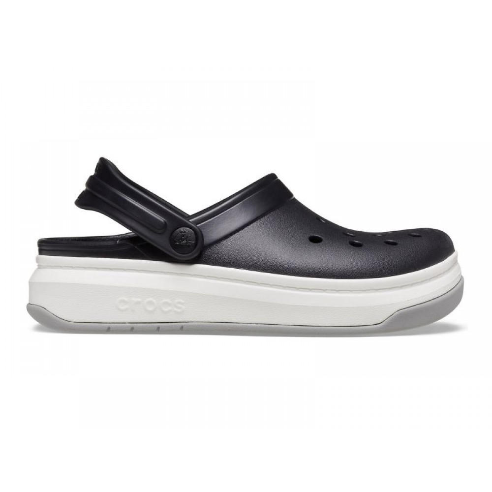 "Кроксы на толстой подошве Crocs Crocband Full Force Clog ""Вlack/White"" (Черный)"