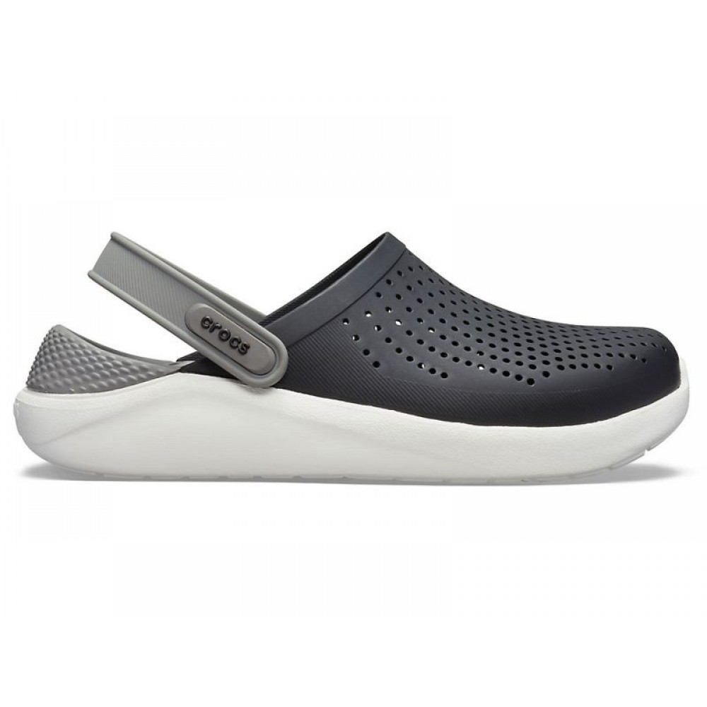"Сабо Кроксы Crocs LiteRide™ Clog ""Black/Grey/White"" (Черный, Серый)"