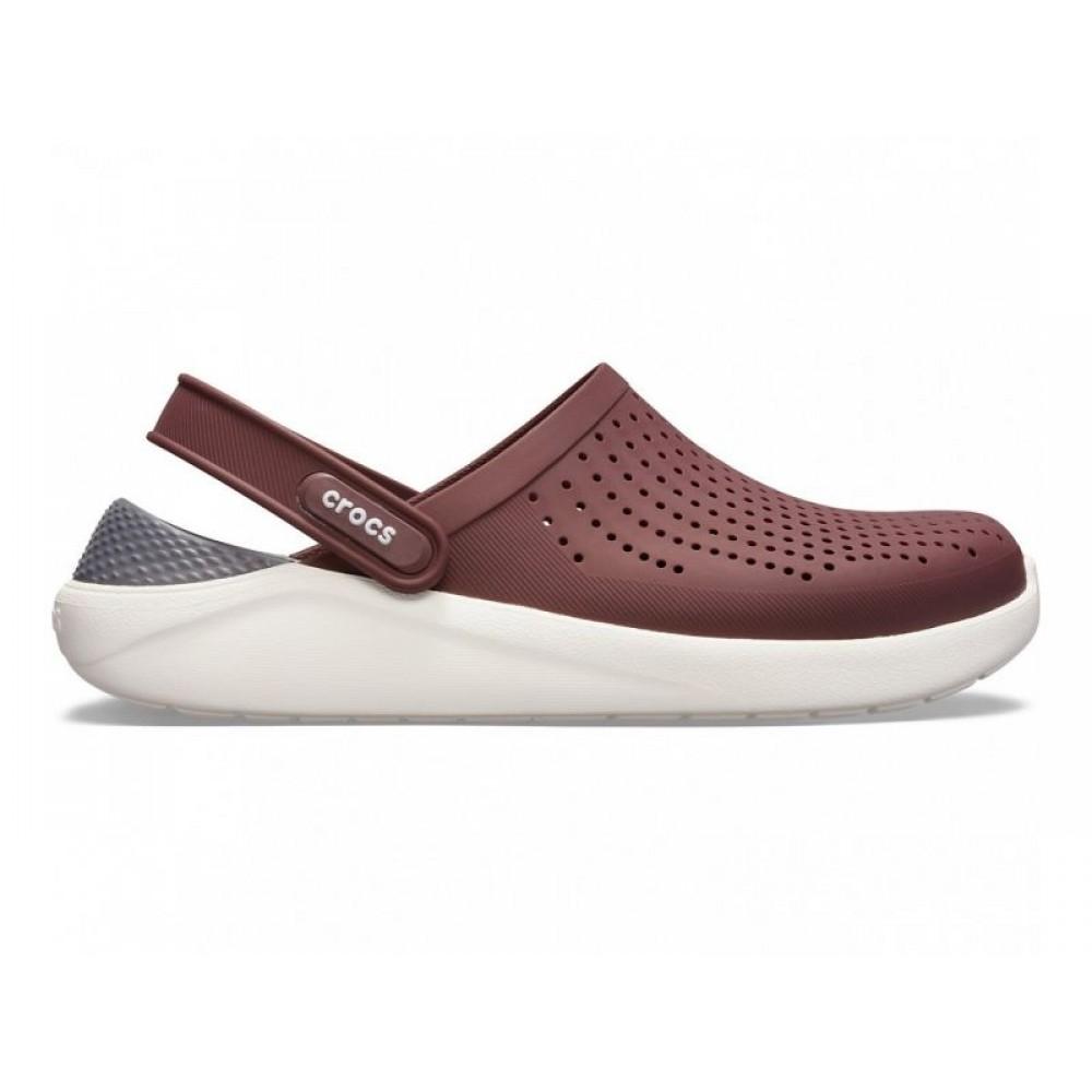 "Сабо Кроксы Crocs LiteRide™ Clog ""Burgundy/Grey/White"" (Коричневый, Серый)"