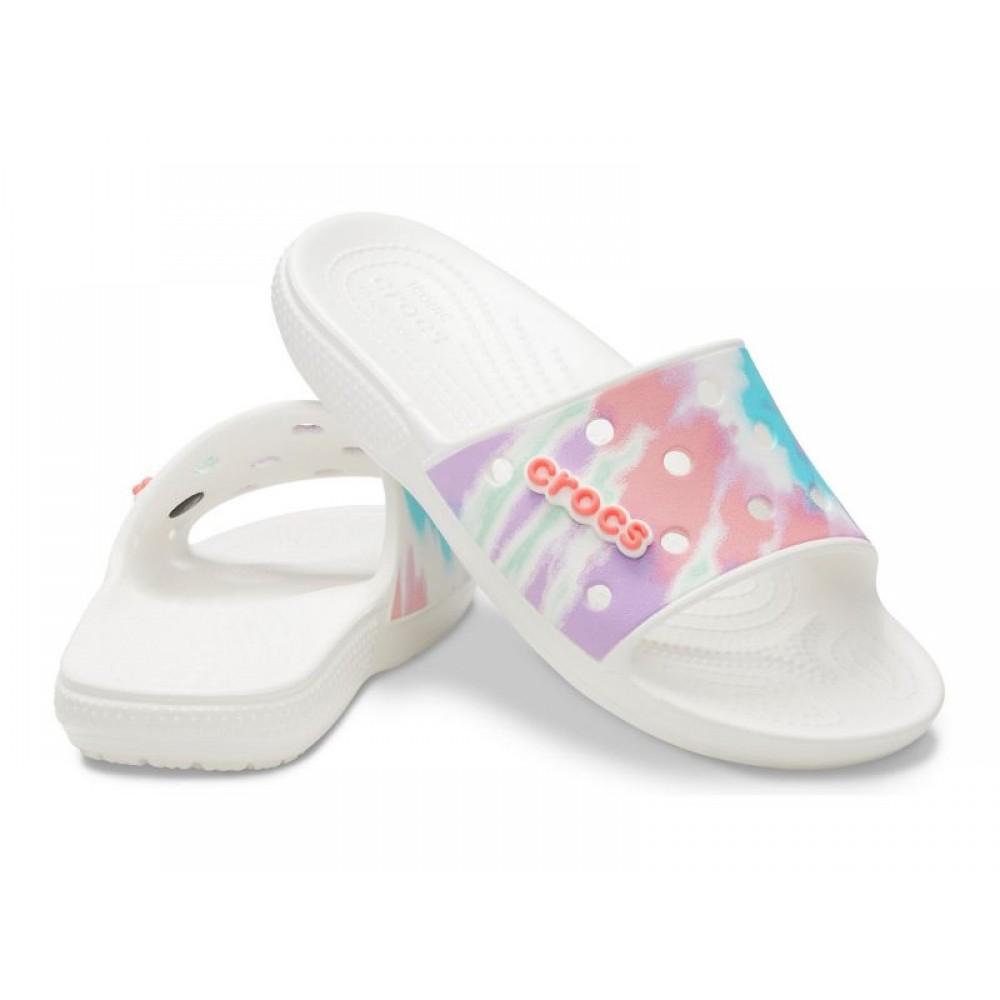 """Шлепки Classic Crocs Tie-Dye Graphic Slide """"White"""" (Белый)"""