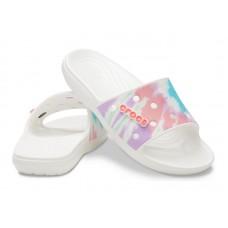"""Шлепки Classic Crocs Tie-Dye Graphic Slide """"White"""""""