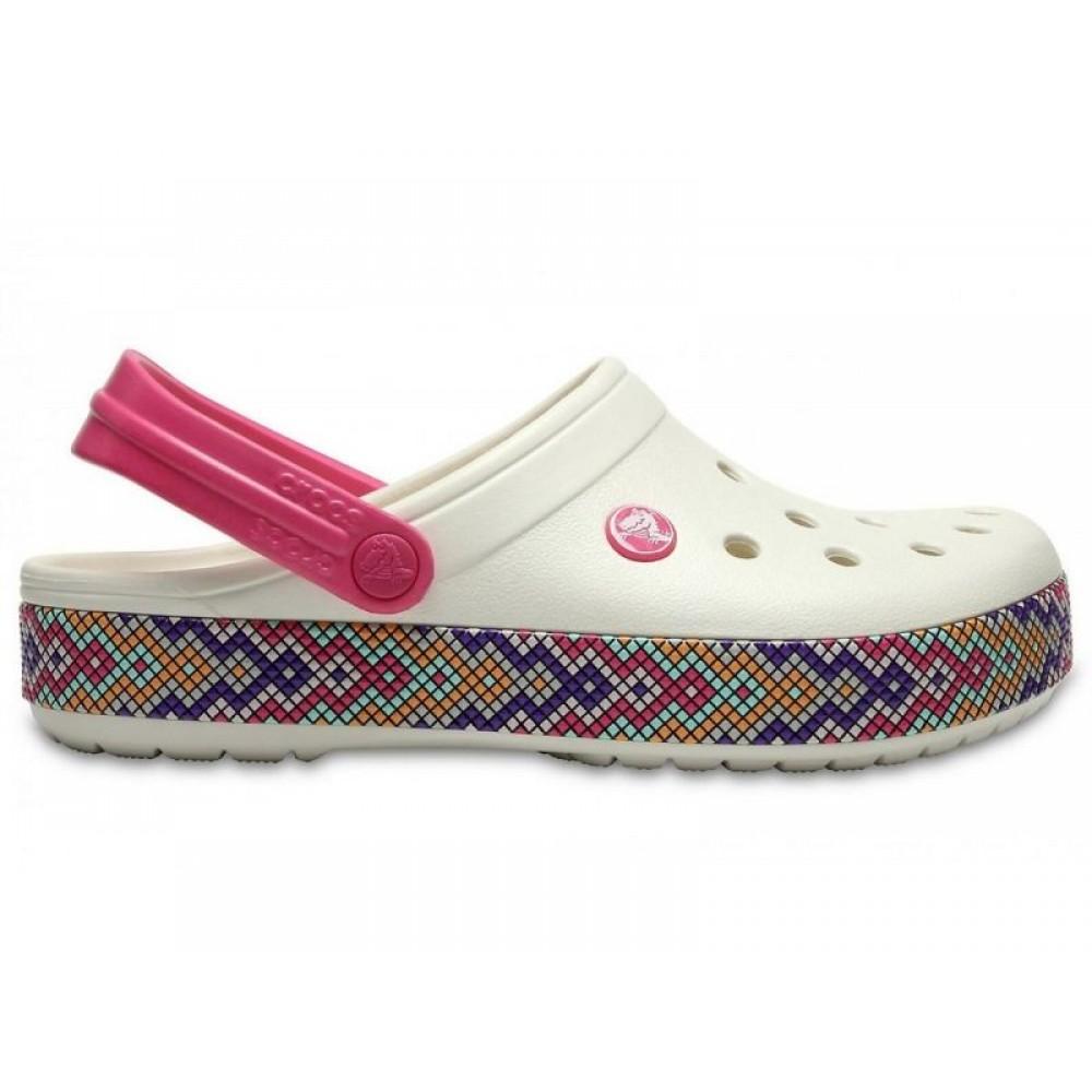 "Кроксы Crocs Crocband Gallery Clog ""White/Crimson"" (Белый)"