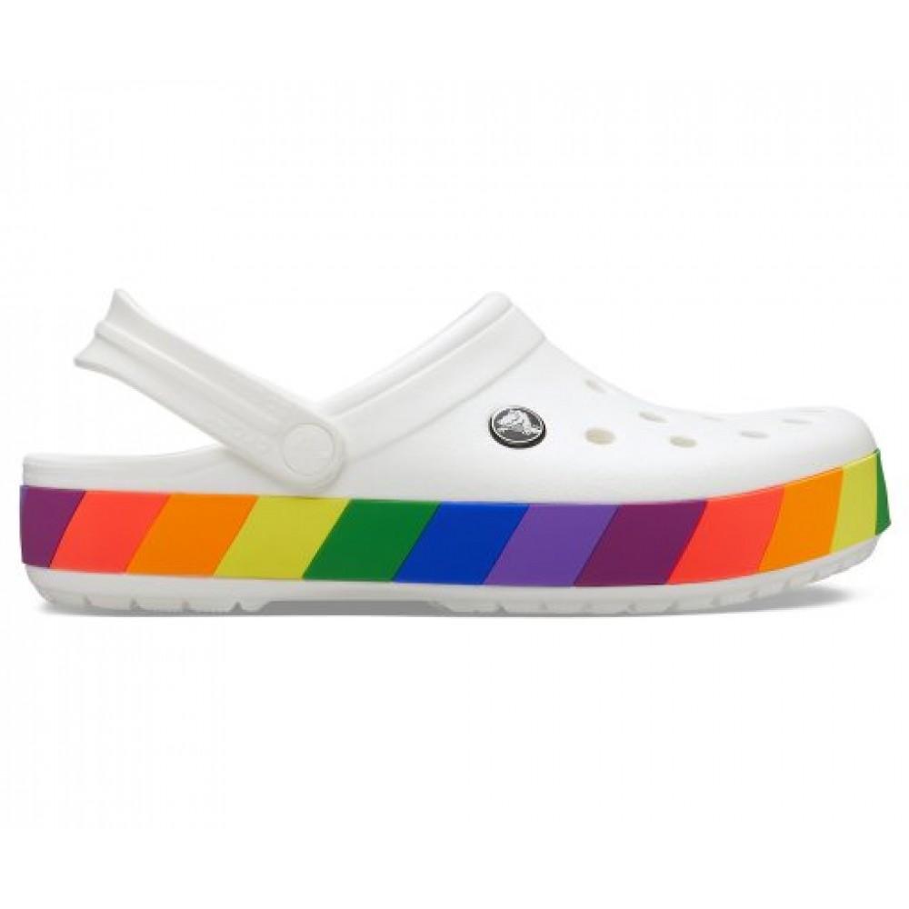 "Кроксы Crocs Crocband Rainbow Block Clog ""White"" (Белый)"