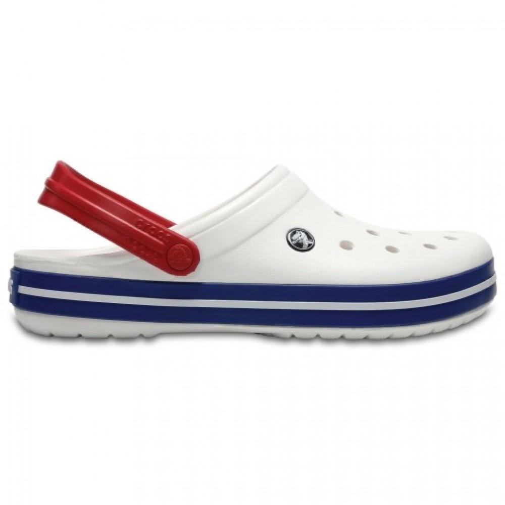 """Кроксы Crocs Crocband """"Blue JEAN/White/Red"""" (Белый, Красный)"""