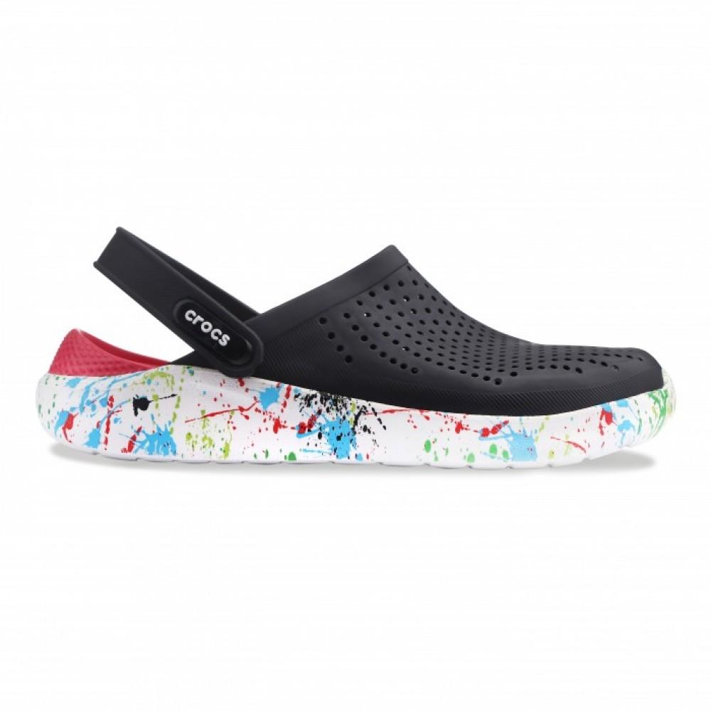 "Сабо Кроксы Crocs LiteRide™ Clog ""Black/White"" (Клякса) (Черный)"