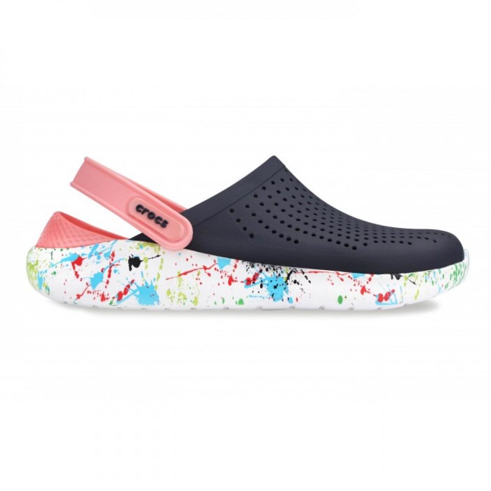 """Сабо Кроксы Crocs LiteRide™ Clog """"Navy/Melon"""" с кляксой на подошве (Синий, Розовый)"""