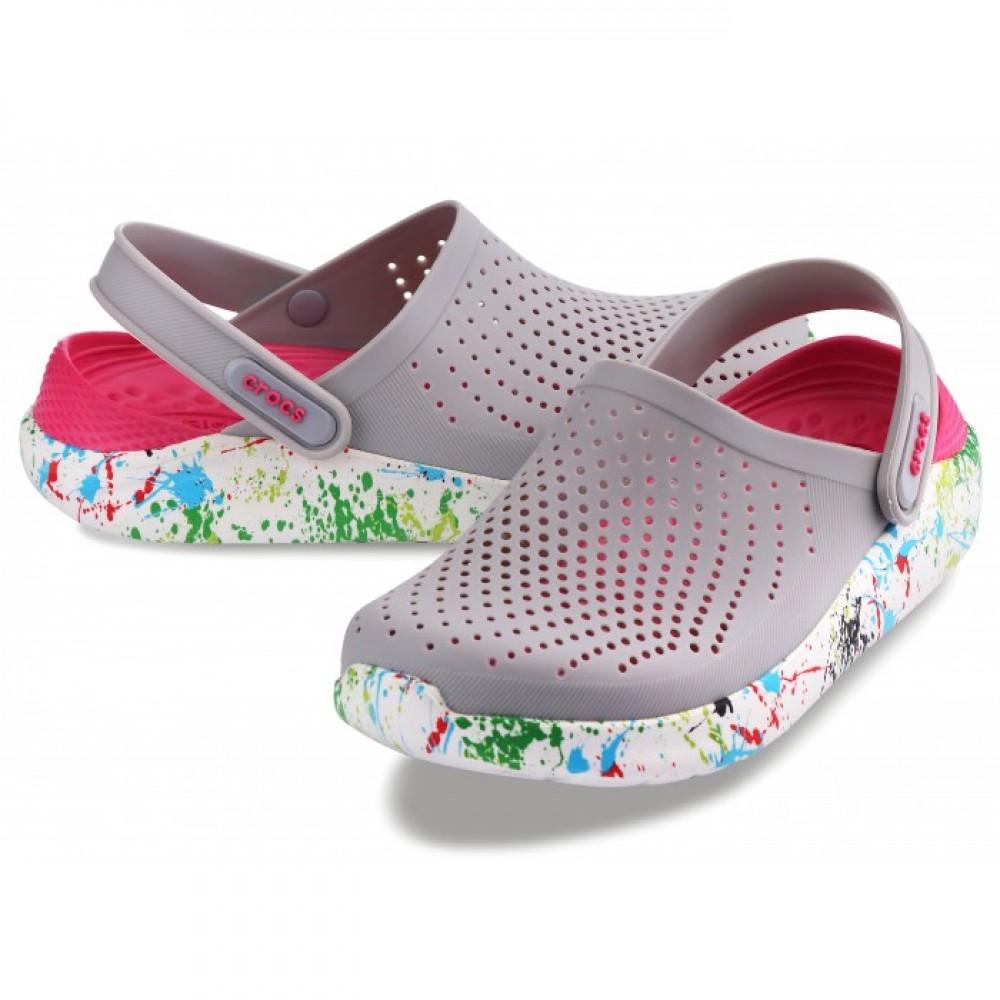 """Сабо Кроксы Crocs LiteRide™ Clog """"Pearl/White"""" с кляксами на подошве (Серый, Малиновый)"""