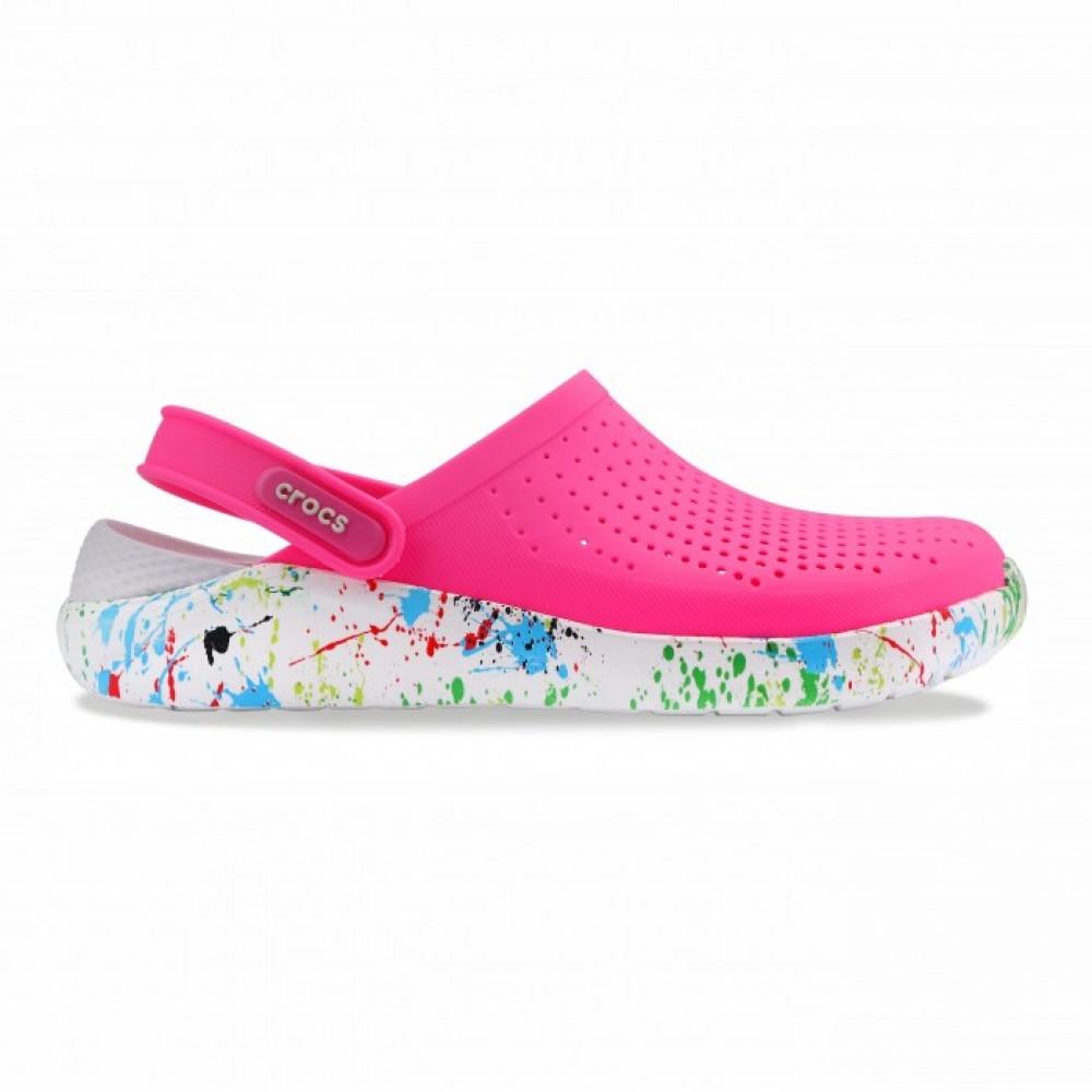 "Сабо Кроксы Crocs LiteRide™ Clog ""Pink/White"" Кляксы (Розовый)"