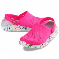 "Сабо Кроксы Crocs LiteRide™ Clog ""Pink/White"" Кляксы"
