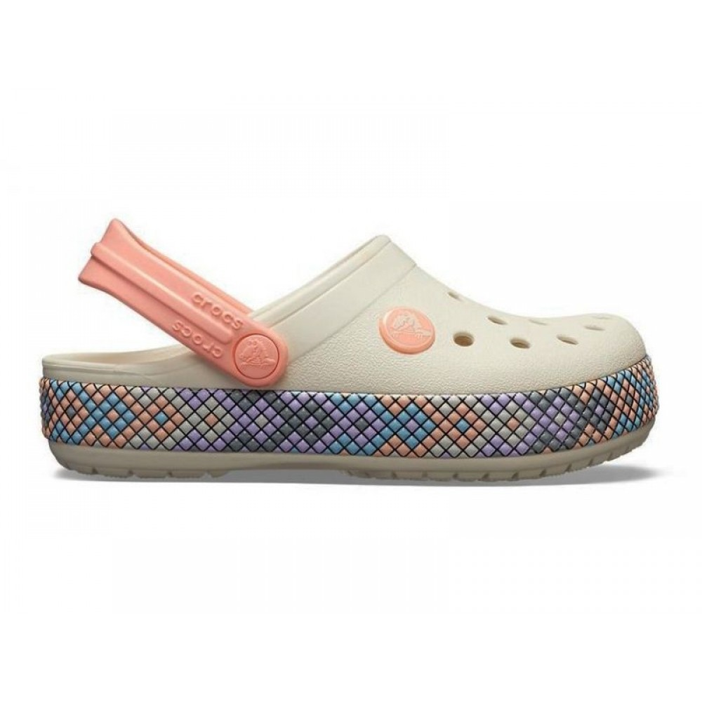 """Кроксы Crocs Crocband Gallery Clog """"White/Peach"""" (Белый, Персиковый)"""