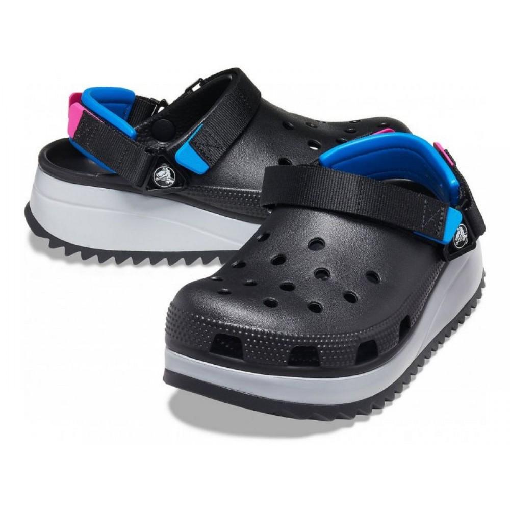 """Кроксы Crocs Classic Hiker Clog """"Black"""" (Черный, Синяя пятка)"""