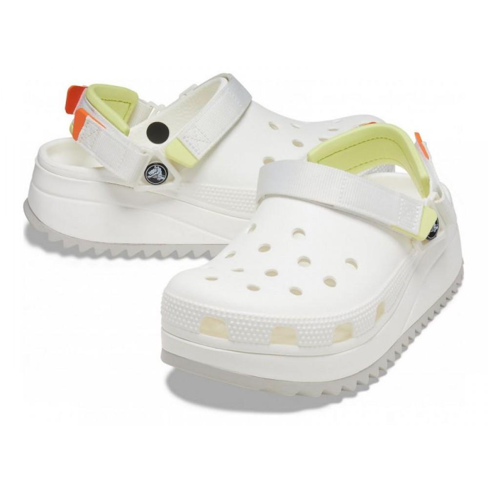 """Кроксы Crocs Classic Hiker Clog """"White"""" (Белый, Желтая пятка)"""