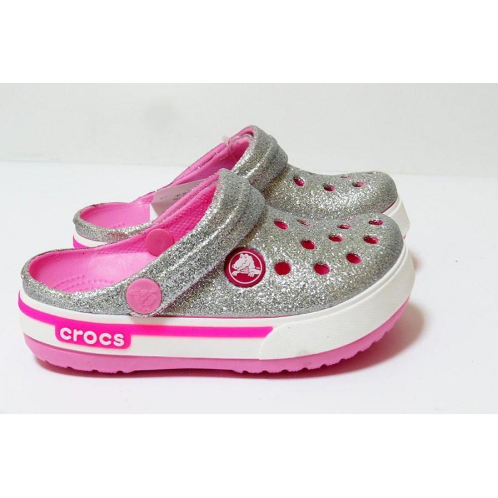 """Кроксы Kids Crocs Crocband Clog """"Silver/Pink"""" (Серебристый)"""