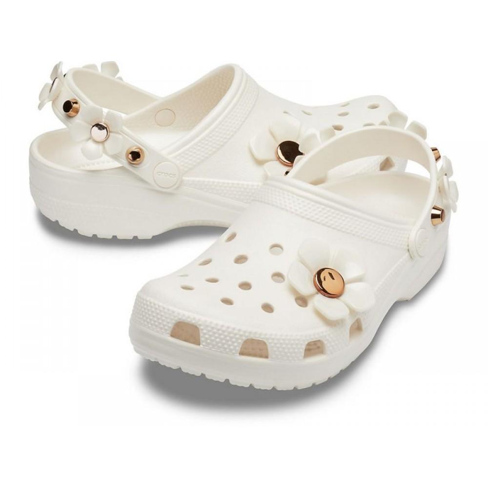 """Кроксы Классические Crocs Metallic Blooms Clog """"White"""" с цветочками (Белый)"""