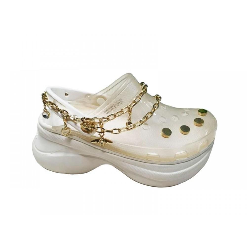 """Кроксы на платформе Crocs Classic Bae Translucent Clog """"White"""" с украшениями (Белый)"""