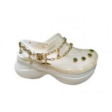 "Кроксы на платформе Crocs Classic Bae Translucent Clog ""White"" с цепью"
